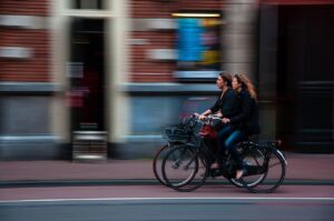 Cycling in a city